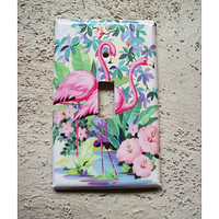 vintage flamingo switch plate retro Florida 1950's bathroom pink flamingo kitsch