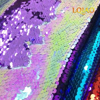 125*45CM Turquoise Fuchsia/White/Gold Reversible Embroidered Mermaid Sequin Fabric For Dresses/Photo Backdrop Wedding Decoration