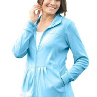 Jacket In Soft Knit, Babydoll Style (Sky Blue,2X) $29.99