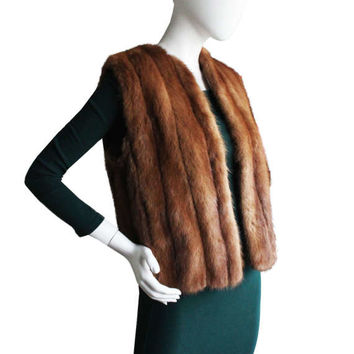 Beautiful Vintage Brown Mink Fur Vest | Women's Size Small/Medium | Retro, Trendy Winter Fall Coat, Muscalus Furs Genuine Real