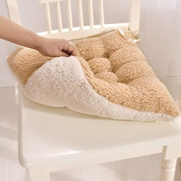 1pc 40x40cm Luxury Berber Fleece Chair Seat Sofa Pillow Cushion 10cm Thickness Plush Throw Pillow Warm Decorative Cushion