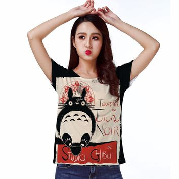 T-shirt Top Tee Cute Noir  My Neighbor Totoro Studio Warm Friend 0202
