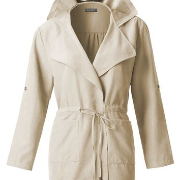 LE3NO Womens Lightweight Open Front Hoodie Utility Parka Jacket with Pockets