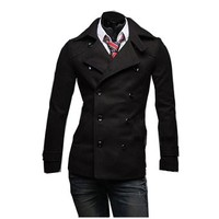 Partiss Men's Double-breasted Slim Fit Coat