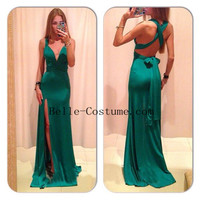 Green Prom Dress, Cross Back Prom Dresses, Long Satin Prom Dresses