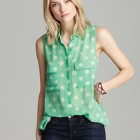 Equipment Blouse - Spotted Sleeveless Signature | Bloomingdale's