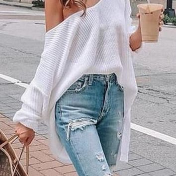 White Cold Shoulder Batwing Sleeve Women Knit Sweater