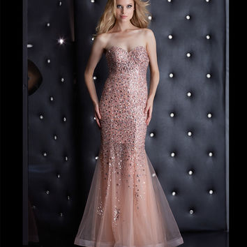 Pink Strapless Corset Back Beaded Mermaid Dress Prom 2015