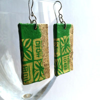 Green Gold Hanji Paper Earrings OOAK Dangle Earrings Handmade Hypoallergenic hooks Lightweight Patchwork Design