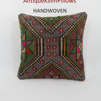 Kilim pillow cover 16x16 Turkish cushion sofa throw pillow bohemian decor rug cushion kilim pillow decorative pillow case 000001