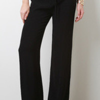Solid Chiffon Palazzo Pants Color: Black, Size: S