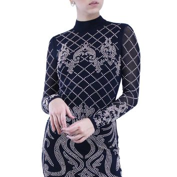 Mock Neck Baroque Stud See Through Long Sleeve Bodycon Mini Dress