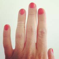 Double layer knuckle ring - 2 sterling silver knuckle wire band.