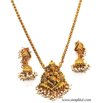 Gold Matte finish Lord Ganesha Pendant Necklace and Earring set