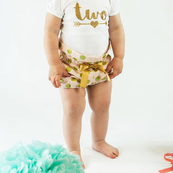 Pink and Gold Polka Dot High Waisted Bloomers