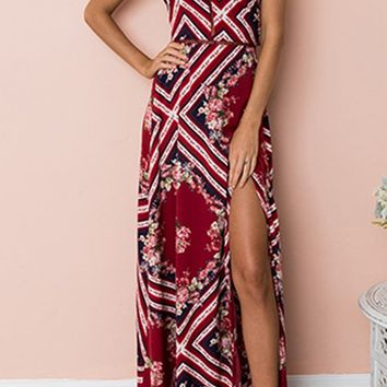 High Priority Red Geometric Floral Pattern Sleeveless Backless Halter Casual Maxi Dress