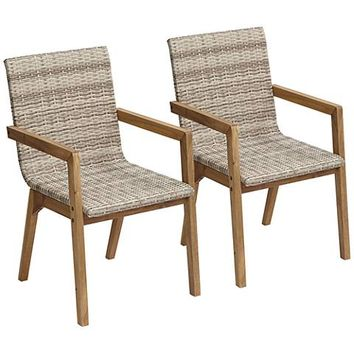 Vancouver Wicker Outdoor Dining Armchairs Set of 2 - #33R15 | Lamps Plus