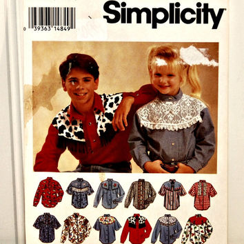 Simplicity Pattern 8753 (c. 1993) Girls' & Boys' Western Shirt Sewing Pattern, Sizes 7-12, Country Western Wear, Rodeo Fair Dress Up