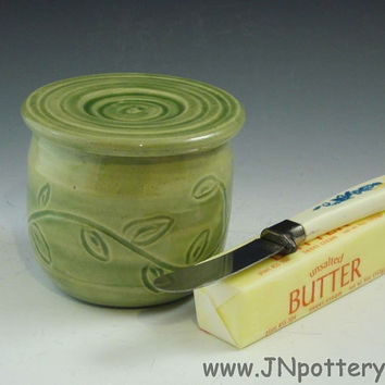Ceramic / Stoneware Butter Crock / French Style Butter Keeper, Celadon Green s188
