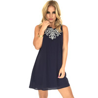 Bold Beauty Shift Dress In Navy