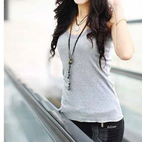Lace Accent Hem Cotton Slim Fit Racer Back Tank Top