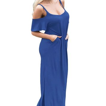 Elisan Women's Sassy Cold Open Shoulder Ruffle Sleeves Maxi Dress Low Neck Long Dress With pockets