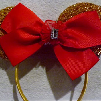 Minnie Mouse Ears Headband Gold Sparkle and Red Bow Bling Mickey Mouse Ears, Disneyland Holiday Mouse Ears FAST SHIPPING