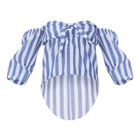 White Stripe Bardot Bow Front Shirt