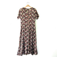 Vintage 90s floral maxi dress. revival dress. loose fit dress.