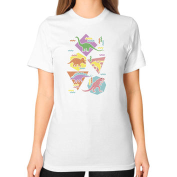 Nineties Dinosaur Pattern Unisex T-Shirt (on woman)