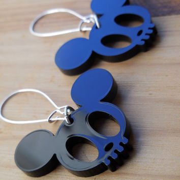Mickey Skull Laser Cut Earrings - Black Acrylic Statement Jewellery