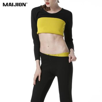 MAIJION Plus Size Women Weight Loss Running Set Fat Burning Yoga Shirt Tops&Pants Sport Suits Hot Sweat Slimming Gym Workout Set