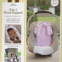 Carter's 2 in 1 Head Support Perfect for car seats strollers bouncers joggers For Girl Pink Polka Dots and Monkey