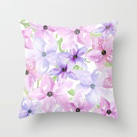 clematis vines Throw Pillow by Sylvia Cook Photography