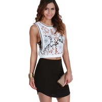 Sale- White Cut Down Crochet Crop Top