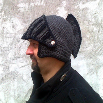 Crocheted Knight Helmet Hat With Movable Visor ,Crochet Slouch Mens Grey Convertible Beanie Hat Handmade Winter Men Snowboard Ski Hat unisex