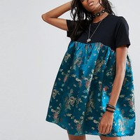 Reclaimed Vintage Inspired T-Shirt Dress With Brocade Panel at asos.com