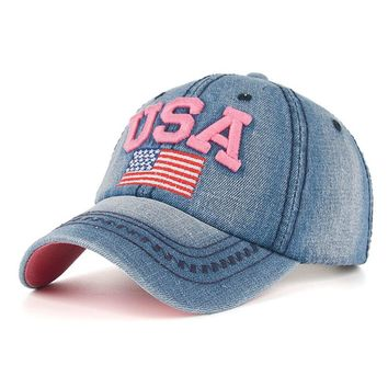 USA Flag Embroidery Caps For Men Women Retro Denim Baseball Cap Summer Strapback Casquette Hip Hop Hat Couples Snapback