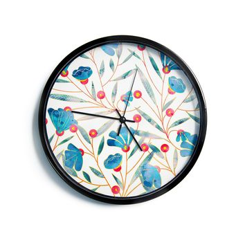 "83 Oranges ""Bluebella"" Blue White Nature Floral Illustration Watercolor Modern Wall Clock"