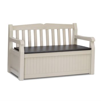 Patio Bench with Arm Rest and Storage Box in Beige Weather Resistant Resin