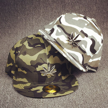 6pcs free shipping/2016-A505 Metal hemp camouflage  fashion skateboard snapback hip-hop hat  men women baseball cap
