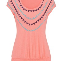 Embroidered Smocked Bottom Top - Pink