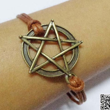 circle pentagram antique bracelet, brown wax rope bracelet, personalized gift friendship