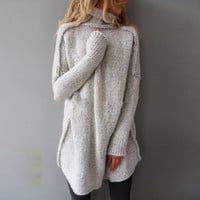Fashion Autumn Sweater 2016 Women Knitted Pullovers Turtle Neck Long Sleeve Loose Knitwear Casual Solid Jumper Pull Femme
