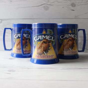 Vintage Set of 3 Camel Cigarettes Thermo Serv Plastic Beer Mugs | Joe Camel 75th Birthday | Made in the USA | Tobbaciana Collectable