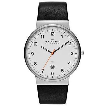 Skagen Klassik Mens Three Hand Date Watch - White Dial - Black Leather Strap