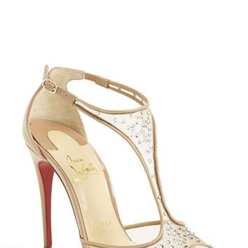Women's Christian Louboutin 'Patinana' T-Strap Open Toe Pump,