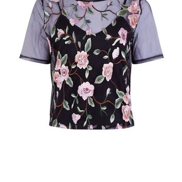 Black Mesh Floral Embroidered T-Shirt
