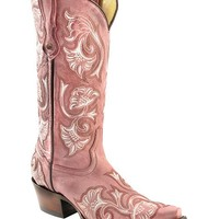 Corral Floral Embroidered Pink Cowgirl Boots - Snip Toe - Sheplers