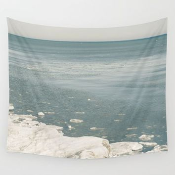 Blue Huron Wall Tapestry by Faded  Photos